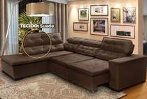 Sofá Canto 5 Lugares Chaise D Retrátil e Reclinável Pillow 280 x 220 cm Sttilo- TECIDO SUEDE -Megasul Cor Marrom -
