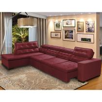 Sofá Canto Chaise D 7 Lugares Retrátil e Reclinável Pillow 360 x 220 cm Sttilo - MegaSul -