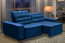 Sofa Chiron 4 Lugares  retrátil e reclinável Suede Azul largura  2,32 metros - Fratello