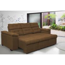 Sofa Columbia 2,00 Mts Retrátil e Reclinavel Tecido Suede Café - Moveis marfim r.e