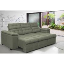 Sofa Columbia 2,00 Mts Retrátil e Reclinavel Tecido Suede Cinza - Moveis marfim r.e