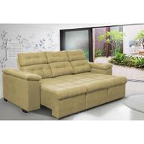 Sofa Columbia 2,25 Mts Retrátil e Reclinavel Tecido Suede Castor - Moveis marfim r.e