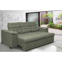 Sofa Columbia 2,80 Mts Retrátil e Reclinavel Tecido Suede Cinza - Moveis marfim r.e