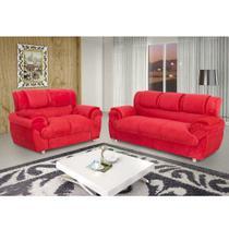 Sofá Conjunto com 2 e 3 Lugares em Tecido Suede 7025 vermelho - Boareto