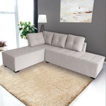 Sofá de Canto Cama 6 Lugares Multifuncional, Modelo Mobile, Tecido Algodão Reciclado Cinza Claro, Silla -