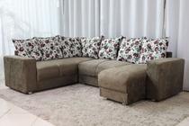 Sofá de Canto com Chaise 6 Lugares 5070 Tecido Suede Almofadas Soltas Marrom floral - Boareto