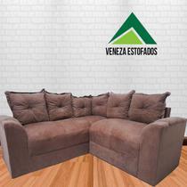 Sofá de canto com chaise Suede marrom - Veneza Estofados