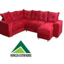 Sofá de canto com chaise Suede Vermelho - Veneza Estofados