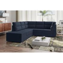 Sofá de Canto Layon 1,30 mts X 1,80 mts + Puff 0,50cm Tecido Suede Azul Marinho - Best house