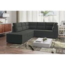 Sofá de Canto Layon 1,30 mts X 1,80 mts + Puff 0,50cm Tecido Suede Cor Cinza - Best house
