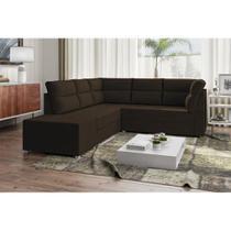 Sofá de Canto Layon 1,30 mts X 1,80 mts + Puff 0,50cm Tecido Suede Marrom Café - Best house