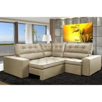 Sofa de Canto Retrátil e Reclinável com Molas Cama inBox Austin 2,20m x 2,20m Suede Velusoft Bege -