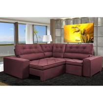 Sofa de Canto Retrátil e Reclinável com Molas Cama inBox Austin 2,30m x 2,30m Suede Velusoft Vinho -