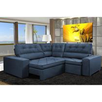 Sofa de Canto Retrátil e Reclinável com Molas Cama inBox Austin 2,60m x 2,60m Suede Velusoft Azul -