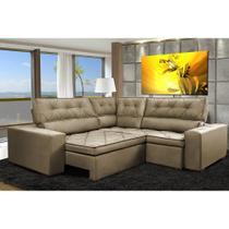 Sofa de Canto Retrátil e Reclinável com Molas Cama inBox Austin 2,70m x 2,70m Suede Velusoft Castor -