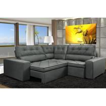 Sofa de Canto Retrátil e Reclinável com Molas Cama inBox Austin 2,70m x 2,70m Suede Velusoft Cinza -