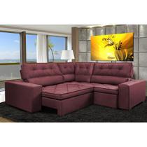 Sofa de Canto Retrátil e Reclinável com Molas Cama inBox Austin 2,70m x 2,70m Suede Velusoft Vinho -