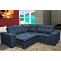 Sofa de Canto Retrátil e Reclinável com Molas Cama inBox Oklahoma 2,20m Suede Velusoft Azul -