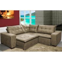 Sofa de Canto Retrátil e Reclinável com Molas Cama inBox Oklahoma 2,20m Suede Velusoft Castor -