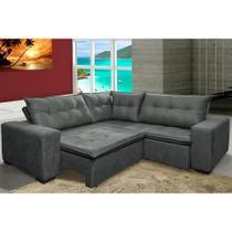 Sofa de Canto Retrátil e Reclinável com Molas Cama inBox Oklahoma 2,20m Suede Velusoft Cinza -