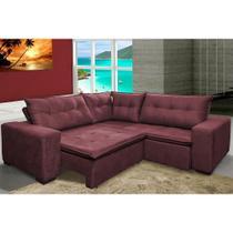 Sofa de Canto Retrátil e Reclinável com Molas Cama inBox Oklahoma 2,20m Suede Velusoft Vinho -