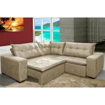 Sofa de Canto Retrátil e Reclinável com Molas Cama inBox Oklahoma 2,30m Suede Velusoft Bege -
