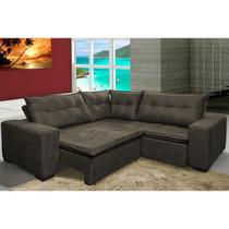 Sofa de Canto Retrátil e Reclinável com Molas Cama inBox Oklahoma 2,50m Suede Velusoft Café -