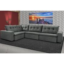 Sofa de Canto Retrátil e Reclinável com Molas Cama inBox Oklahoma 3,45X2,41 ou 2,41X3,45 Cinza -