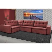Sofa de Canto Retrátil e Reclinável com Molas Cama inBox Oklahoma 3,45X2,41 ou 2,41X3,45 Vermelho -