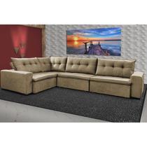 Sofa de Canto Retrátil e Reclinável com Molas Cama inBox Oklahoma 3,65X2,51 ou 2,51X3,65 Castor -