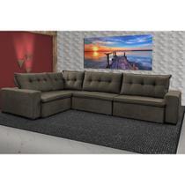 Sofa de Canto Retrátil e Reclinável com Molas Cama inBox Oklahoma 3,85X2,61 ou 2,61X3,85 Café -