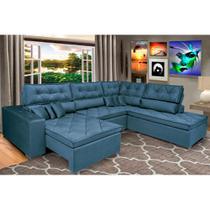 Sofa de Canto Retrátil e Reclinável com Molas Cama inBox Platinum 3,34x2,36 Tecido Suede Azul -