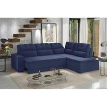 Sofá de Canto Retrátil e Reclinável Fortaleza 1,91m X 2,30m Espuma Soft Tecido Suede Azul Marinho - Best house