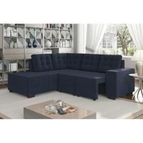 Sofá de Canto Retrátil Livorno 1,96 mts X 1,34 mts Espuma Soft Tecido Suede Cor Azul Marinho - Best house