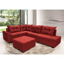 Sofá de Canto Tóquio  2,06 mts X 3,01 mts + Puff Tecido Suede Amassado Vermelho - Hellen Colchões E Estofados