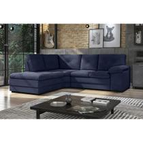 Sofá de Canto Valencia 2,13 mts X 1,37 mts Espuma Soft Tecido Suede Cor Azul Marinho - Best house