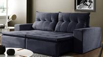Sofá de Suede Retrátil e Reclinável 02 Módulos 0,80m 2,10 x 1,05 x 1,20  Beirute - Elyte Sofás