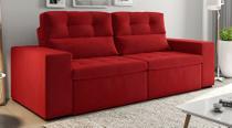 Sofá de Suede Retrátil e Reclinável 02 Módulos 1,20m 2,90 x 1,05 x 1,20  Bahamas Vermelho - Elyte Sofás