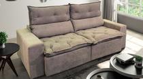 Sofá de Suede Retrátil e Reclinável 02 Módulos de 0,80m 2,10 x 1,15 x 1,20  Nova Déli Bege - Elyte Sofás