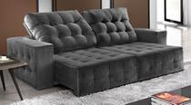 Sofá de Suede Retrátil e Reclinável 02 Módulos de 0,80m 2,90 x 1,05 x 1,20  Luanda Cinza - Elyte Sofás