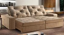 Sofá de Suede Retrátil e Reclinável 02 Módulos de 0,90m 2,30 x 1,05 x 1,20  Vaticano Marrom - Elyte Sofás
