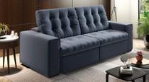 Sofá de Suede Retrátil e Reclinável 02 Módulos de 0,90m 2,30 x 1,15 x 1,20  Estados Unidos Azul - Elyte Sofás