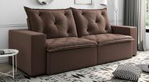Sofá de Suede Retrátil e Reclinável 02 Módulos de 1,10m 2,70 x 0,98 x 1,10  Portugal Marrom - Elyte Sofás