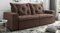 Sofá de Suede Retrátil e Reclinável 02 Módulos de 1,20m 2,90 x 0,98 x 1,10  Portugal Marrom - Elyte Sofás
