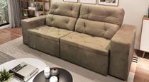 Sofá de Suede Retrátil e Reclinável 02 Módulos de 1,20m 2,90 x 1,00 x 1,10  Espanha Marrom - Elyte Sofás