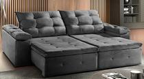 Sofá de Suede Retrátil e Reclinável 02 Módulos de 1,20m 2,90 x 1,05 x 1,20  Damasco Cinza - Elyte Sofás