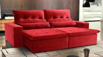 Sofá de Suede Retrátil e Reclinável 02 Módulos de 1,20m 2,90 x 1,05 x 1,20  Montevidéu Vermelho - Elyte Sofás