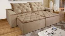 Sofá de Suede Retrátil e Reclinável 02 Módulos de 1,20m com 2,90 x 1,14 x 1,23   Danielle Marrom - Elyte Sofás