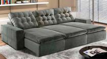 Sofá de Suede Retrátil e Reclinável 03 Módulos de 1,20m 2,90 x 1,05 x 1,20  Paris Cinza - Elyte Sofás