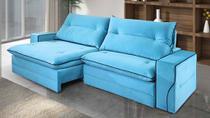 Sofá de Suede Retrátil e Reclinável 2 Módulos de 0,80m - 2,10 x 1,14 x 1,23  Turquesa Azul - Elyte Sofás